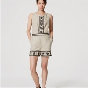 Ann Taylor LOFT tan romper with black embroidery 2